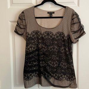 WhiteHouse BlackMarket, XL, Tan Tee w/Lace Overlay